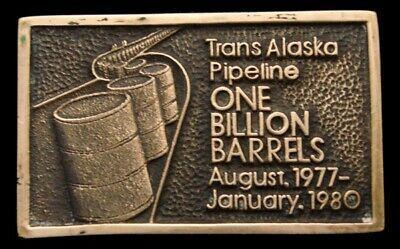 1980 *TRANS ALASKA PIPELINE* 1 BILLION BARRELS SLD BRASS OILFIELD BUCKLE