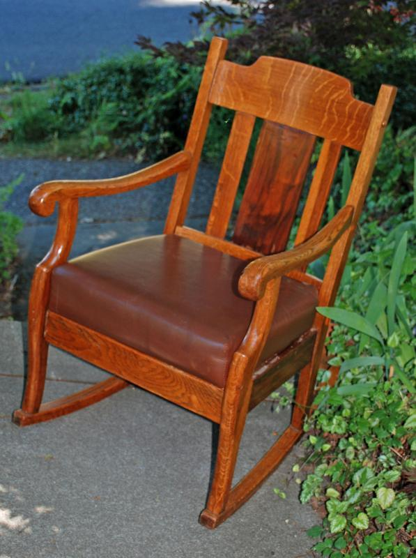 Antique Oak Rocking Chair Mission Style with padded seat