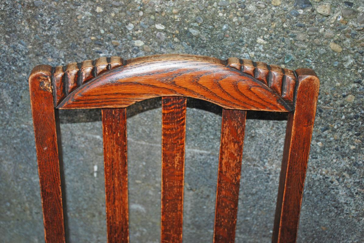 4  Antique Oak Chairs with Padded Seats