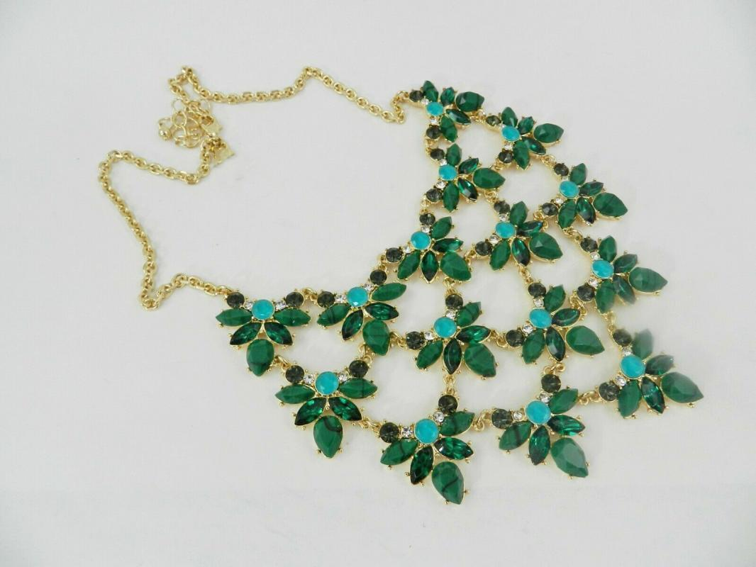 Emerald & Jade Green Crystal & Stone Statement Necklace, 16