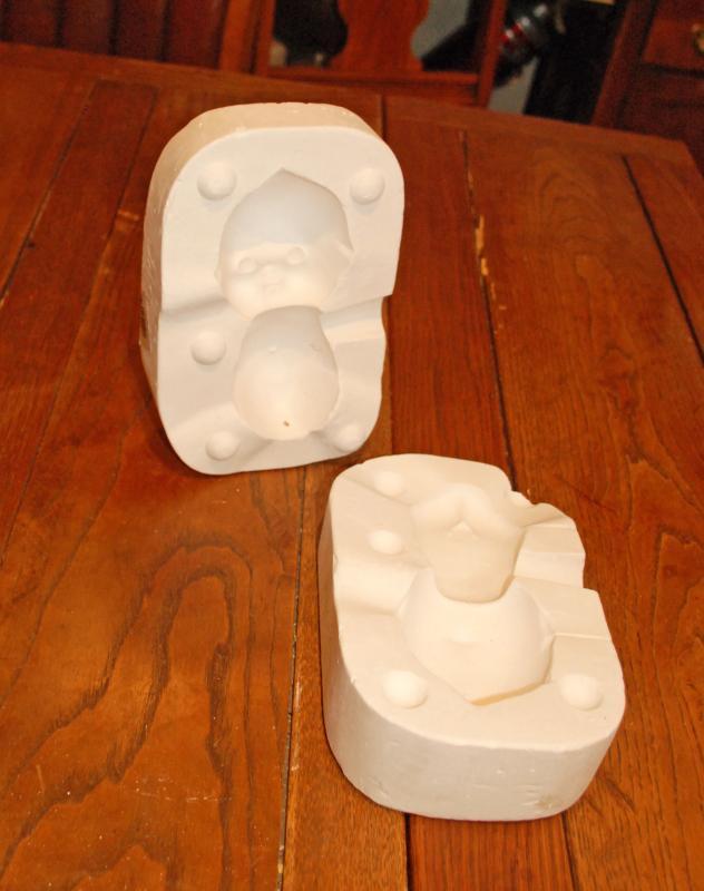 VINTAGE KEWPIE DOLL HEAD AND BODY  PORCELAIN CERAMIC PLASTER SLIP CAST MOLD
