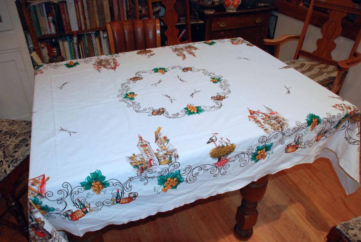 Tablecloth, Lovely Rhine French Alsace Tavern Scene  Print Table cloth Linen, Vintage  100 x 80 inches