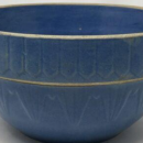 ANTIQUE STONEWARE/ YELLOWWARE BLUE  BATTER MIXING  BOWL SALT GLAZE  RUCKELS/ WHITE HALL POTTERY