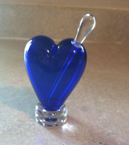 NOSLO GLASS HEART PERFUME BOTTLE COBALT BLUE SIGNED DATED BLOWN GLASS & STOPPER