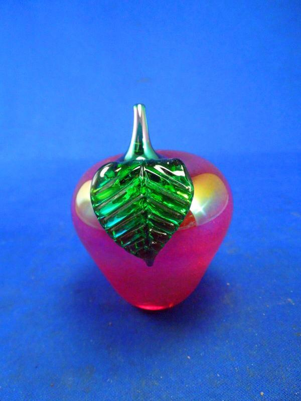 Glass Eye Studio Iridescent  Red Apple Paperweight with Green Leaf, Stem and