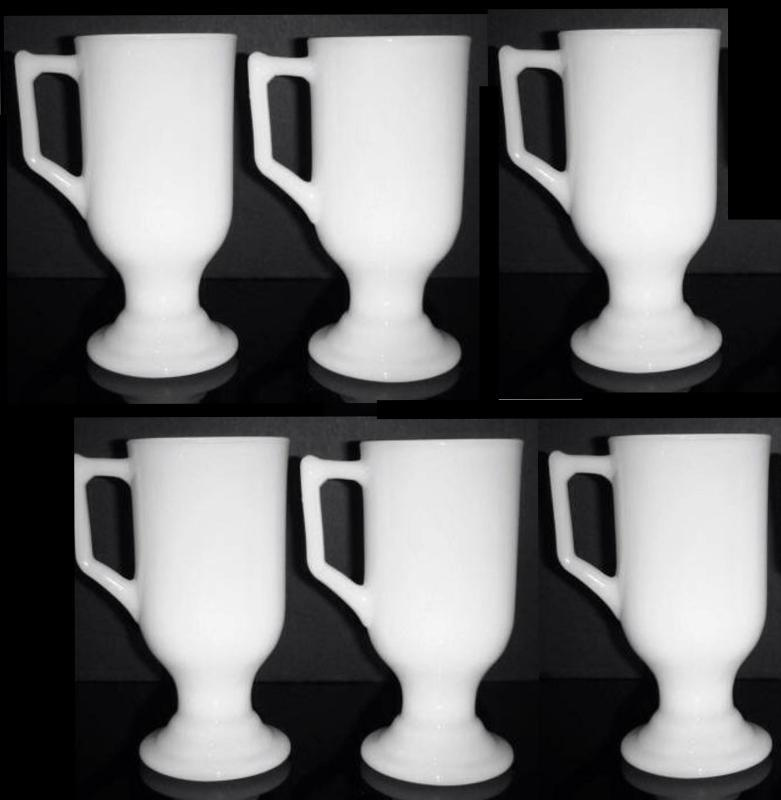 Federal Glass All White Milk  Glass Footed Irish Coffee Mug Handled Pedestal 5.5