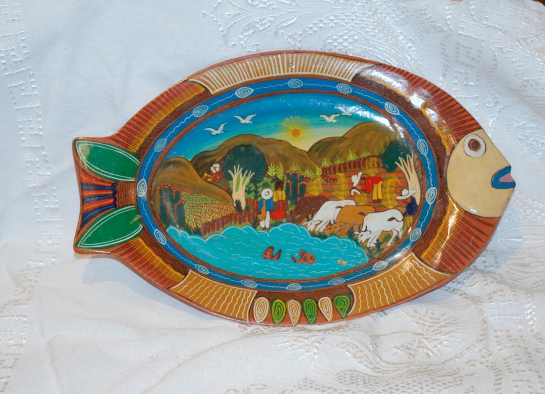 Old Mexican Story Fish Terracotta  Pottery Platter, Harvest & Ocean Scene
