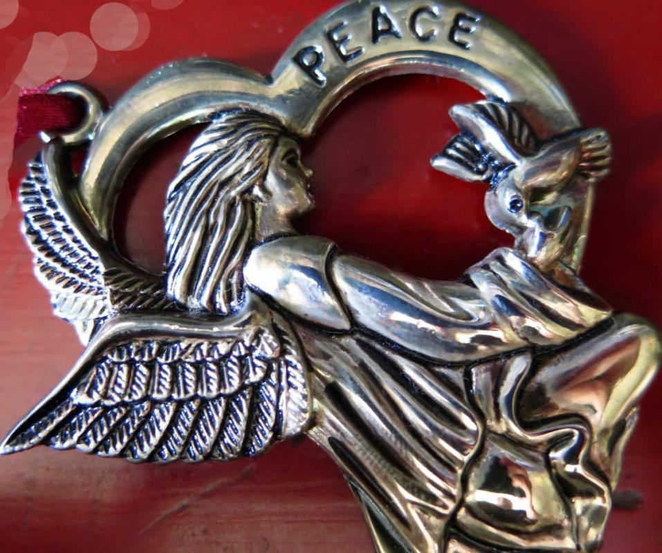 GORHAM SILVER PLATE PEACE ANGEL WITH DOVE CHRISTMAS ORNAMENT