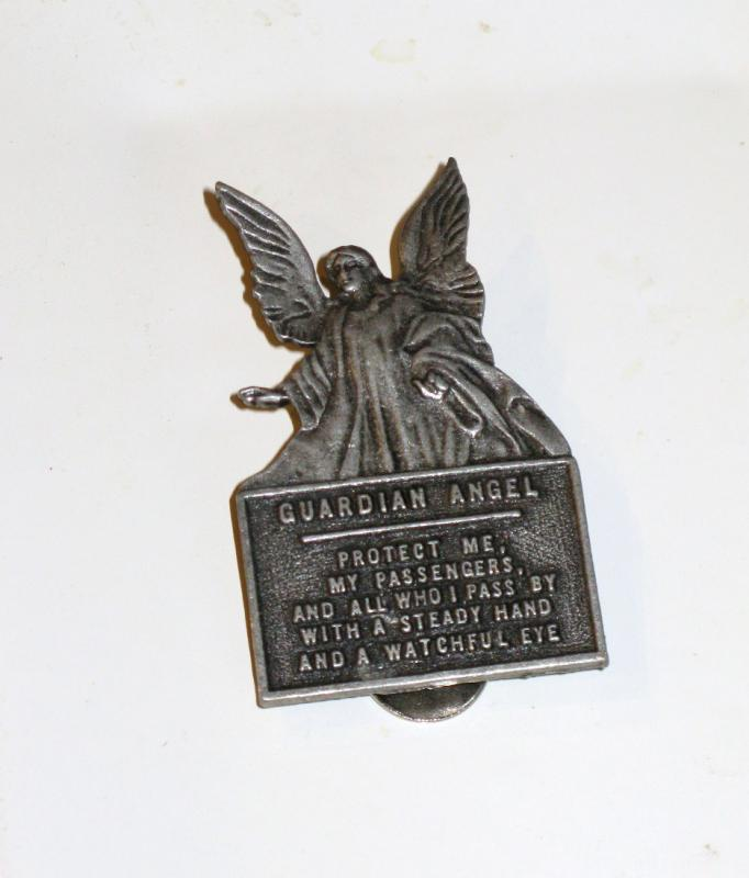 Guardian Angel Visor Clip 'Protect Me' of Pewter