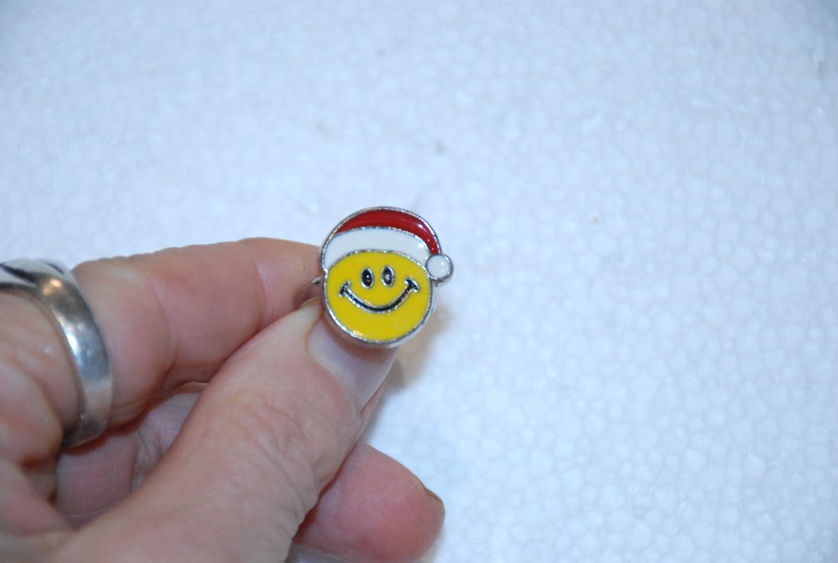 Smiley Face Santa Hat Ring,  Enamel  Free ship