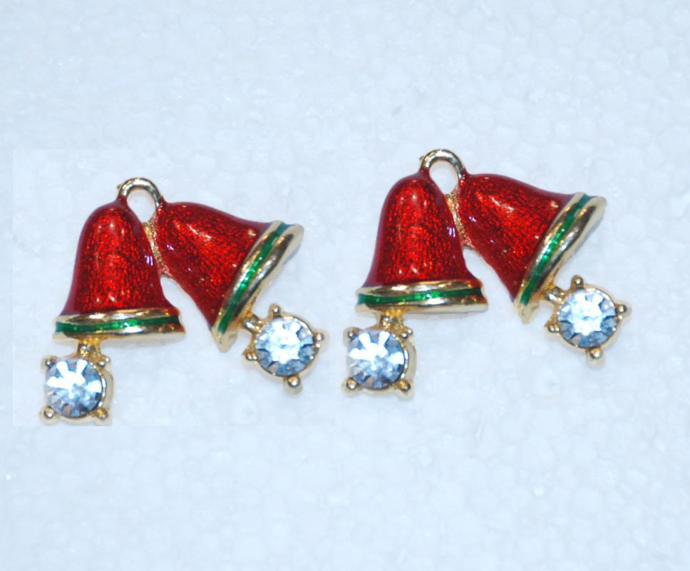 Pair of Double Bells Red Enamel & Crystal Pins, Designer Signed Lapel Pins x 2