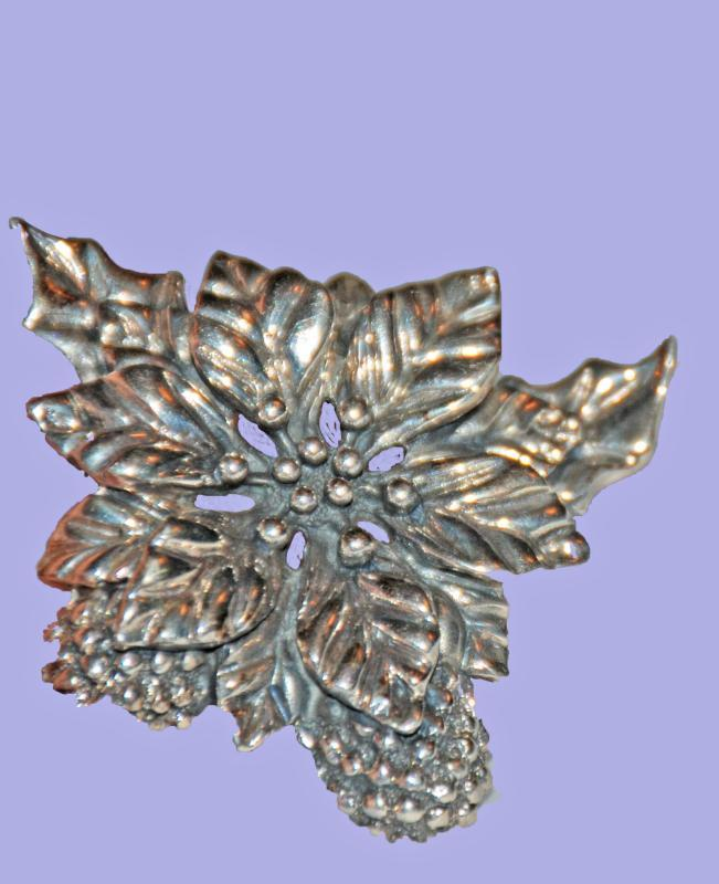Taxco Mexico Sterling Silver Poinsettia, Pinecone, Holly Brooch Pin
