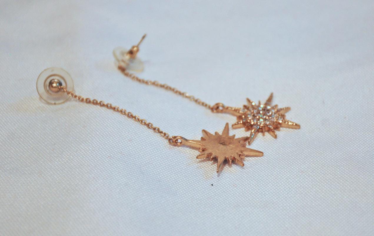 Star Burst Dangle Earrings Gold with White Crystals