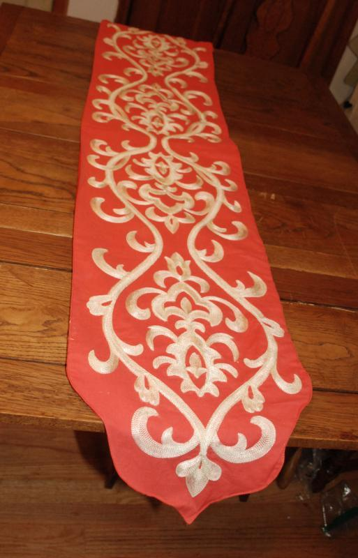 Coral Colored Fabric Embroidered Table Runner Handcrafted