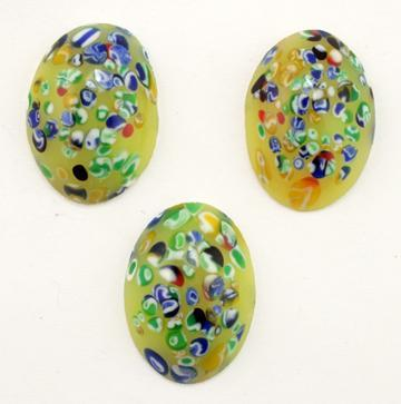 Oval Millefiori Glass Cabochon Handcrafted Vintage Japanese Cherry Brand  25x18mm   (Yellow)