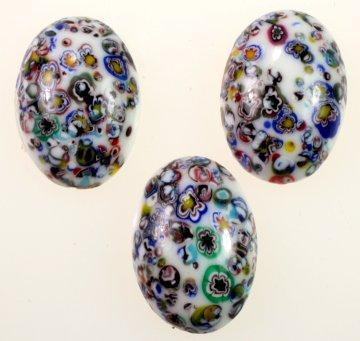 Oval Millefiori Glass Cabochon Handcrafted Vintage Japanese Cherry Brand  25x18mm  (White)