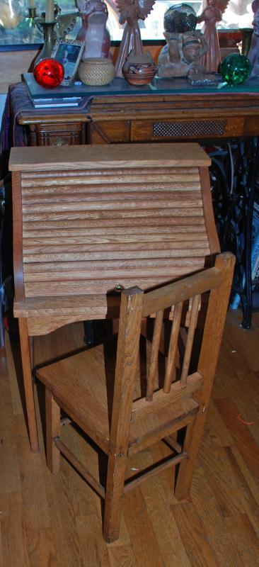 Child's Oak Roll Top Desk with matching Chair