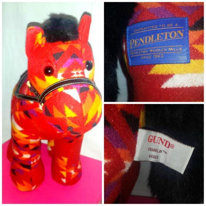 PENDLETON RED RIO WOOL STUFFED PLUSH PONY HORSE GUND INDIAN BLANKET SOUTHWESTERN