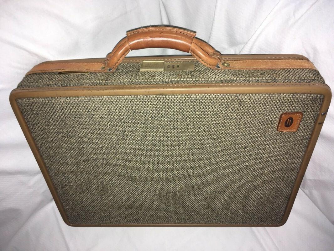Vintage Hartmann Brass Leather Tweed  Briefcase