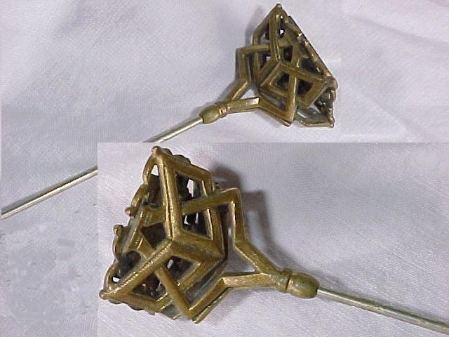 Art Nouveau Hat Pin Monogram Gilt Brass