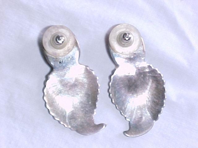 Taxco Sterling Onyx Leaf Earrings