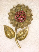 Antique Brass Filigree Flower Brooch