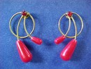 Tear Drop Raspberry Red Pearlescent Bead Earrings Simple but Elegant  * PRICE REDUCED !**