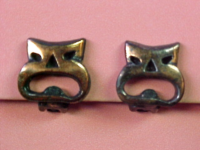 Copper Funny Cat Face Mask Earrings Very Wierd *PRICE REDUCTION!*