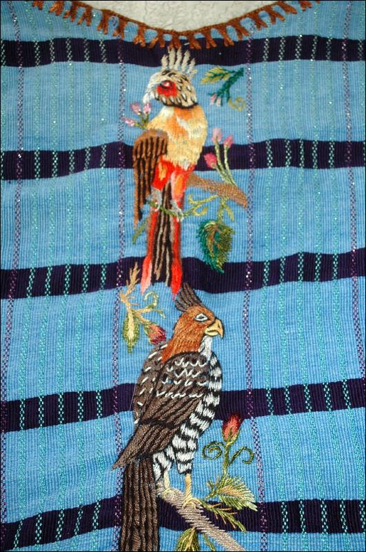 Huipil of Santiago Atitlán Guatemala emboidered with Raptors & Birds on Front and Shoulders  **PRICE REDUCTION*!