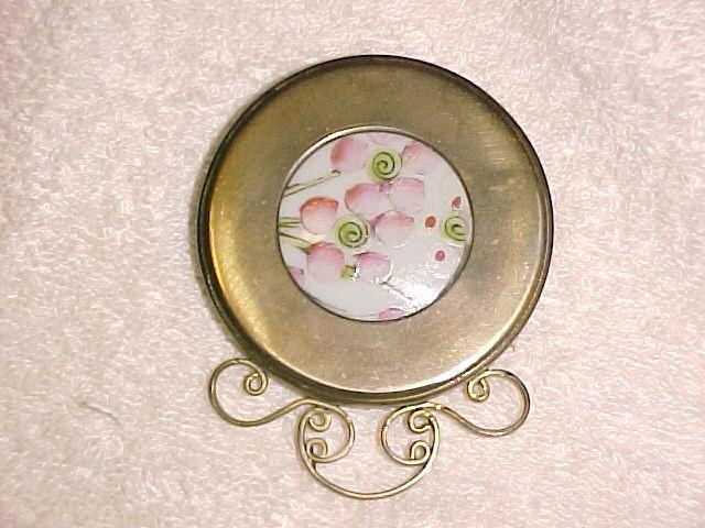 Victorian Brass & Procelain Mirror
