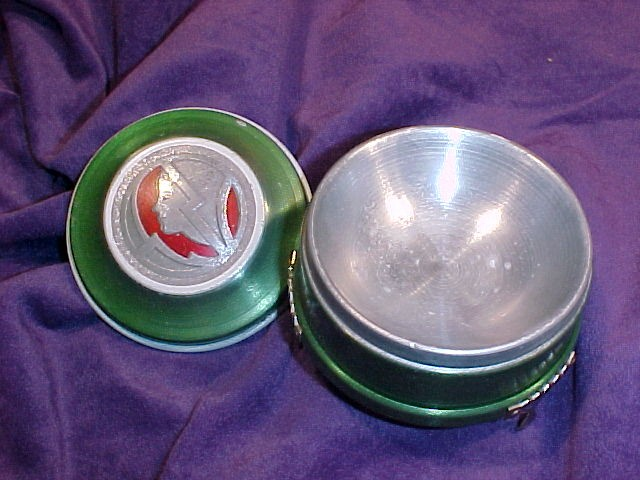 Art Deco Powder Jar, Green & Red Colored