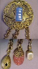 Art Deco Filigree Brooch Blue Stone & Dangles  ADELE SIMPSON