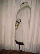 Zippered Front Wool Reindeer Cardigan Sweater  Med