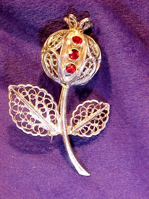Silver Filigree Thistle or Poppy Pod Pin with Red Rhinestones *PRICE REDUCTION!*