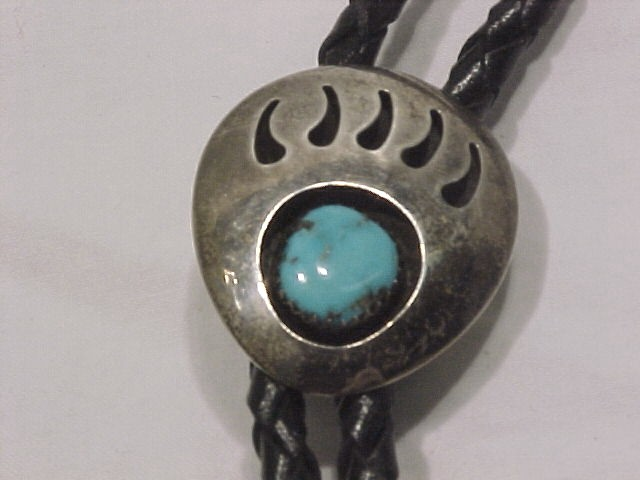 Navajo Silver & Turquoise Bear Claw Shadow