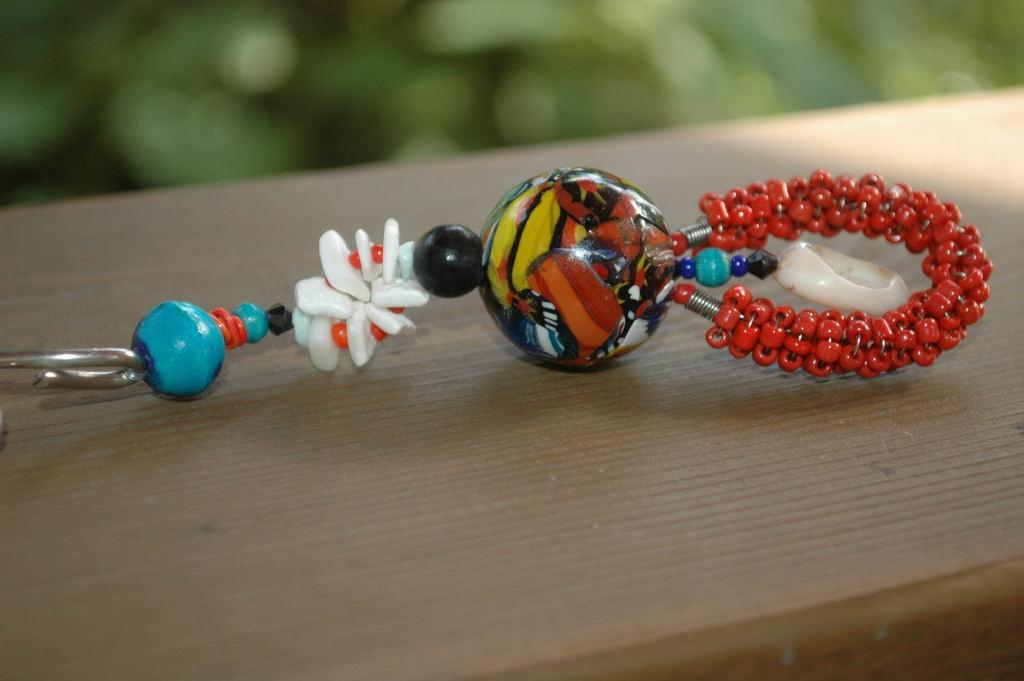 Keychain Large Millefiori Glass  Cane Bead  Hand Made Key Chain Fob One of a Kind Crazy Key Chain