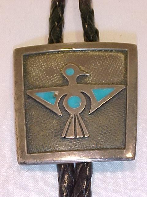 Native American Silver Turquoise T-bird Bolo