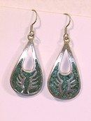Large Sterling Silver & Tuquoise Earrings Mexico