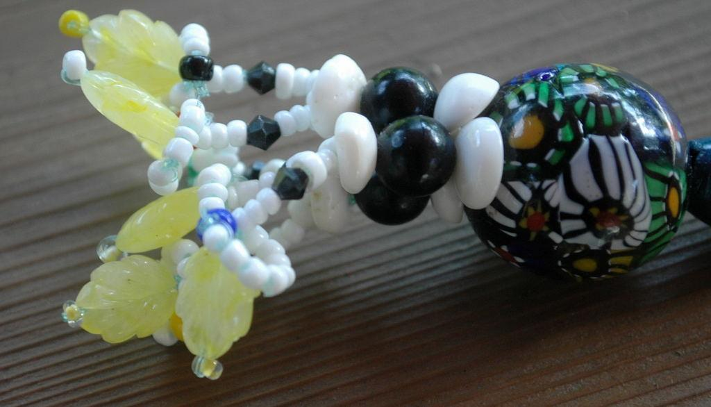 Crazy KeyChain Beaded Key ring Hand blown glass milleflori glass bead Hand crafted One of a Kind Beaded Key Chain Fob