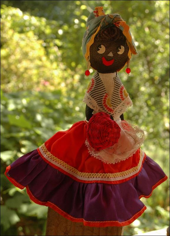 Caribbean  Folk Art Hand Crafted  Black  Cloth Doll  Souvenir