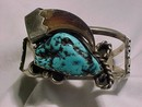 Native American Bear Claw, Turquoise & Silver Cuff Bracelet *Authentic*