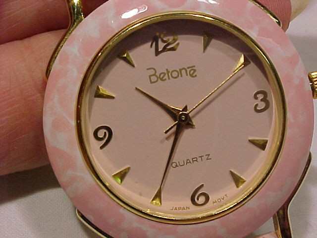 Big Face Pink Watch Leather Band by Betone