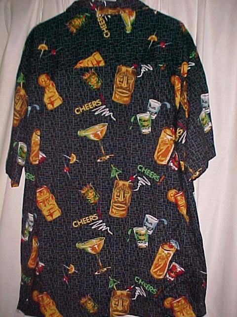 Tiki Bar Cocktail Shirt  100 % Rayon Size Med  *PRICE REDUCTION*