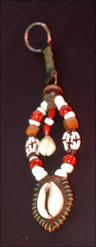 Beaded Keychain,  Fob   Tribal, Nataive, Hand Crafted One of a Kind Key Ring of leather, glass, shell, brass,