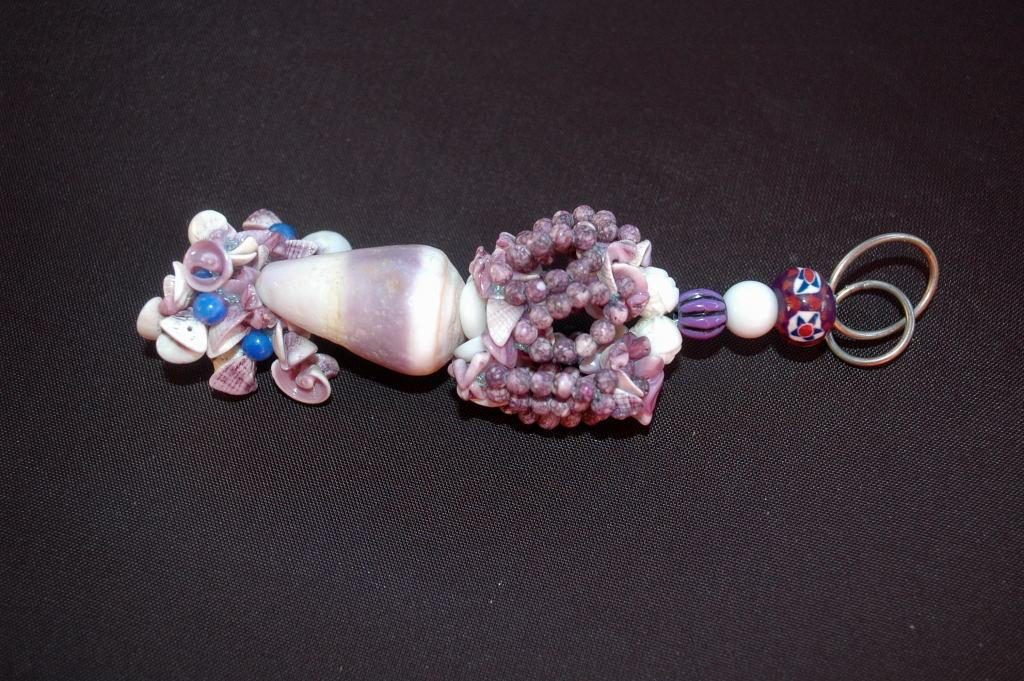 Crazy Purple Shell Keychain Fob,  Hand crafted original design ONE OF A KIND Beaded Key Ring