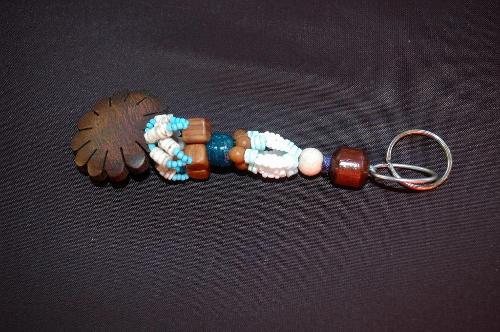 Antique Trade Bead & Carved Hardwood   Keychain, Fob,   Hand crafted original design ONE OF A KIND Beaded Key Ring