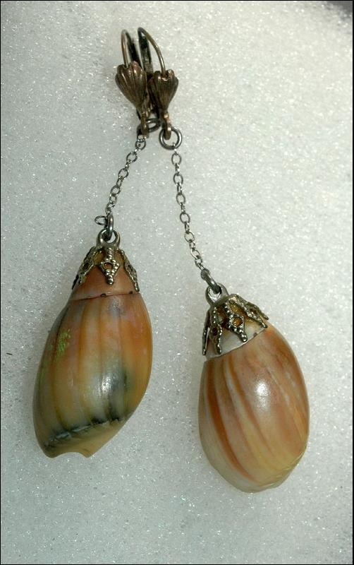 West Germany Antique Silver &  Shell Dangles for Pierced Ear