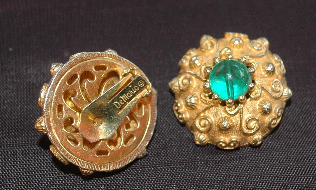 De Mario Green Glass Bead, Gold Tone  Clip on Earrings