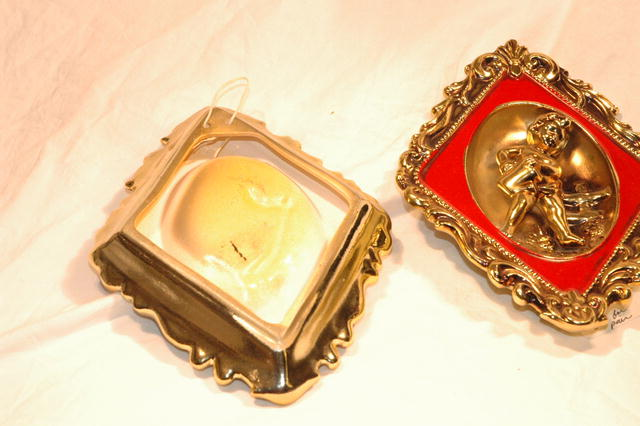 Cherub Red & Gold Ceramic Wall Plaques by ARDCO  ** PRICE REDUCTION!**