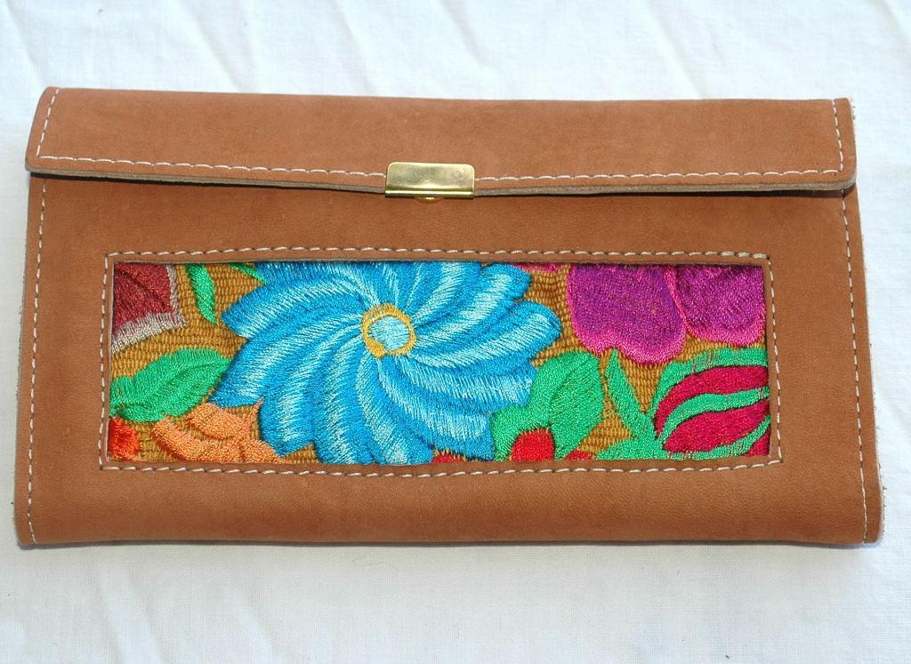 Mayan Art Leather Wallet with flora Embroidered panels, Guatemalan Handicrafts, Guatamala